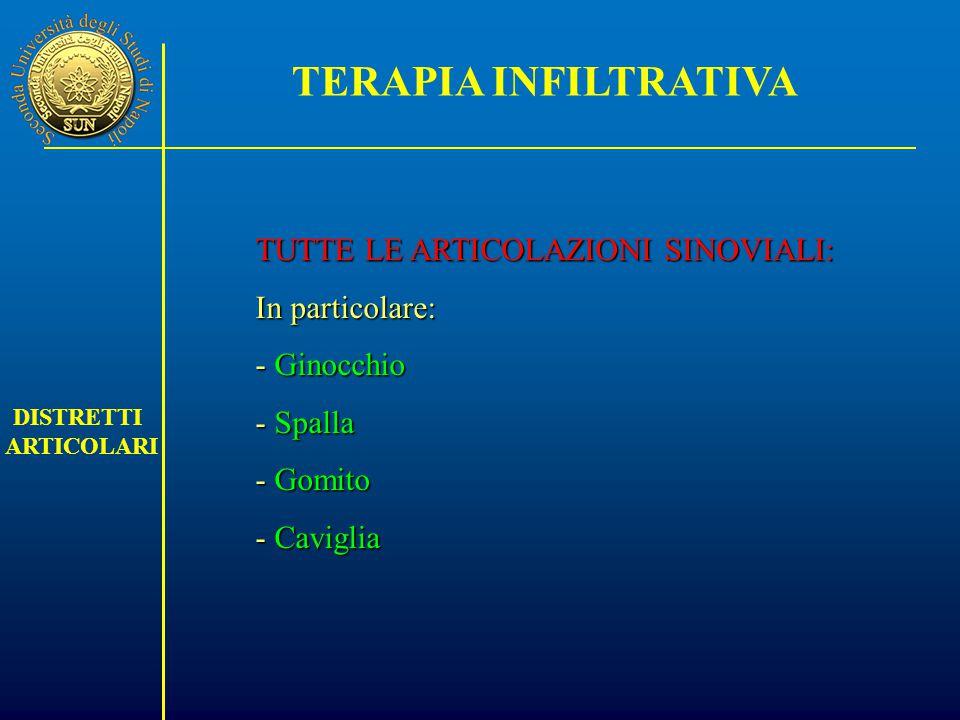 TERAPIA INFILTRATIVA TUTTE LE ARTICOLAZIONI SINOVIALI: In particolare: