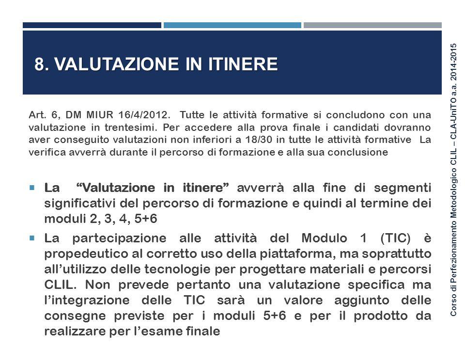8. Valutazione in itinere