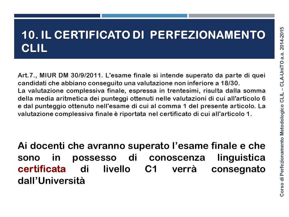 10. Il certificato di perfezionamento clil