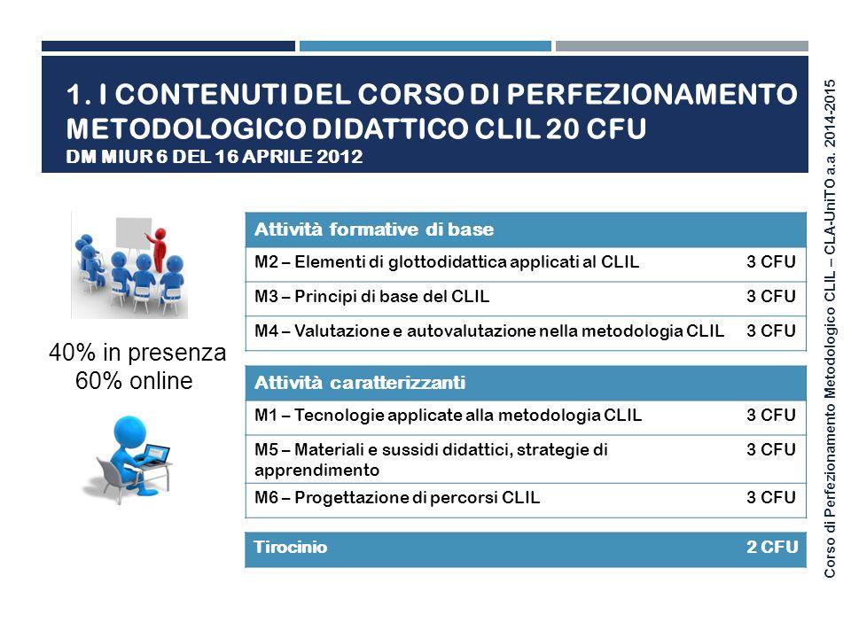 1. I contenuti del corso di perfezionamento Metodologico didattico CLIL 20 CFU DM MIUR 6 del 16 aprile 2012