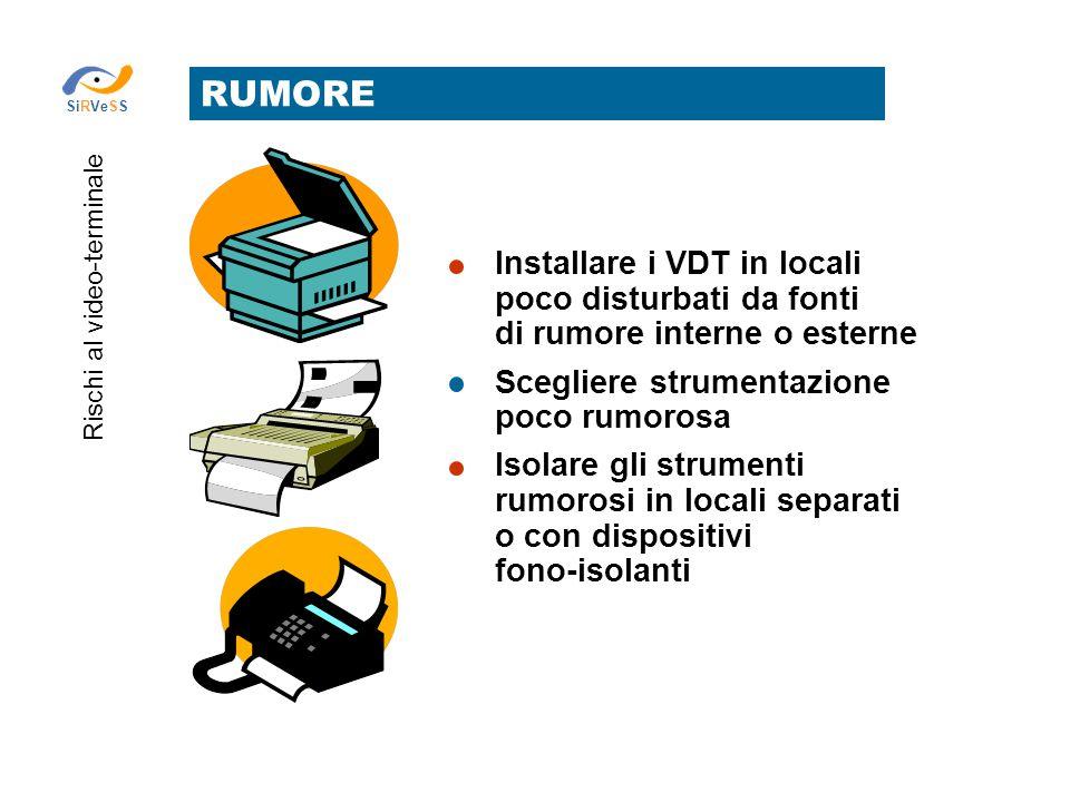 RUMORE Installare i VDT in locali poco disturbati da fonti