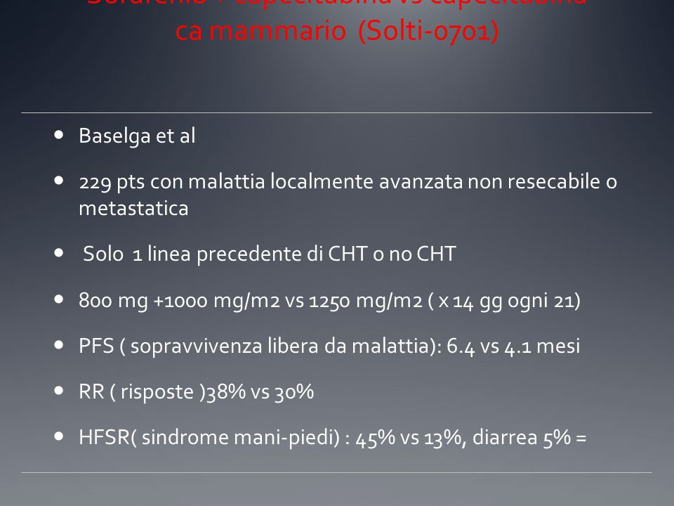 Sorafenib + Xeloda vs Xeloda Sorafenib + capecitabina vs capecitabina ca mammario (Solti-0701)