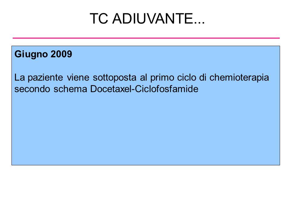 TC ADIUVANTE... Giugno 2009. La paziente viene sottoposta al primo ciclo di chemioterapia secondo schema Docetaxel-Ciclofosfamide.
