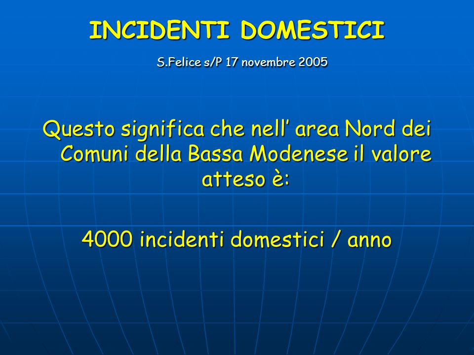 INCIDENTI DOMESTICI S.Felice s/P 17 novembre 2005