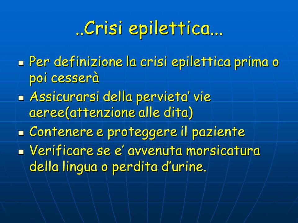 ..Crisi epilettica... Per definizione la crisi epilettica prima o poi cesserà. Assicurarsi della pervieta' vie aeree(attenzione alle dita)