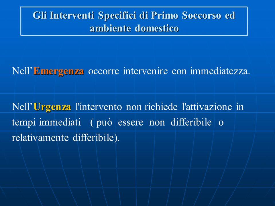 Gli Interventi Specifici di Primo Soccorso ed ambiente domestico