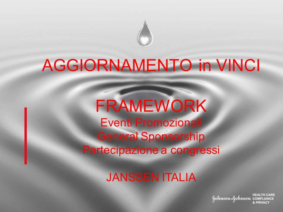 AGGIORNAMENTO in VINCI FRAMEWORK Eventi Promozionali General Sponsorship Partecipazione a congressi JANSSEN ITALIA
