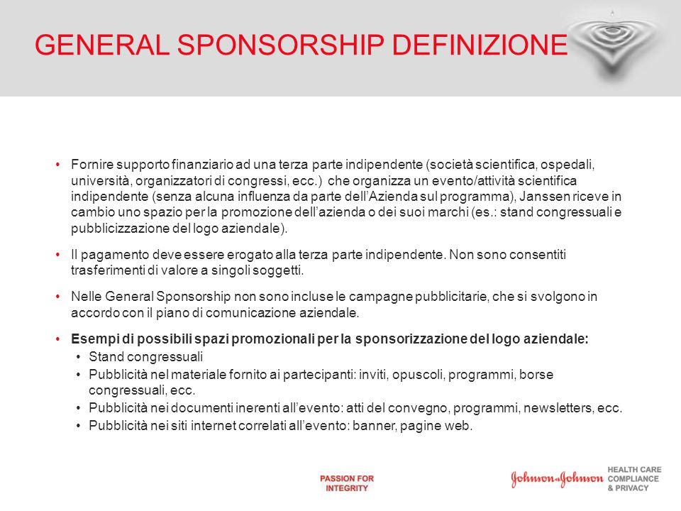 GENERAL SPONSORSHIP DEFINIZIONE