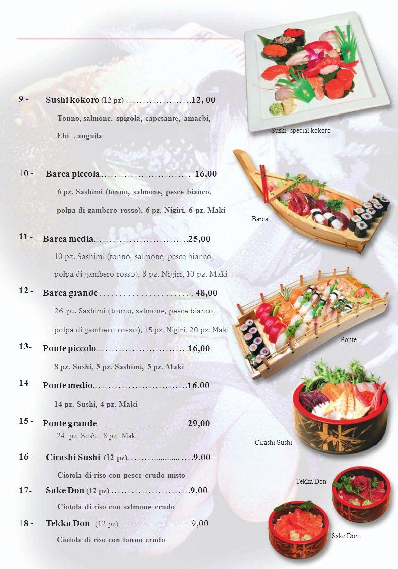 Sushi misto Tonno, salmone, spigola, capesante, amaebi,