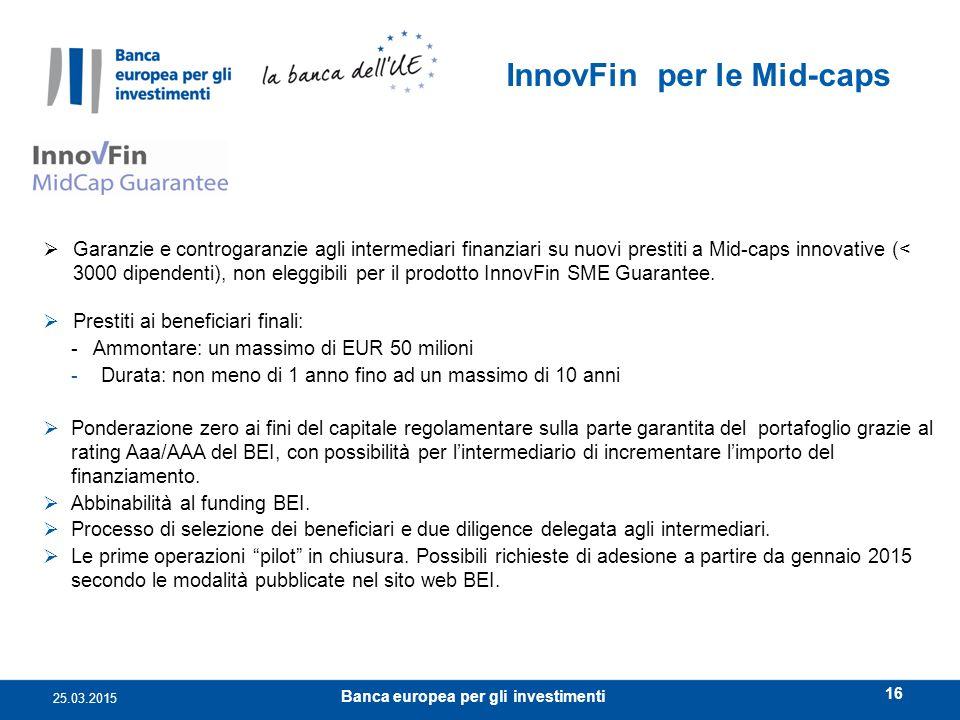 InnovFin per le Mid-caps Banca europea per gli investimenti