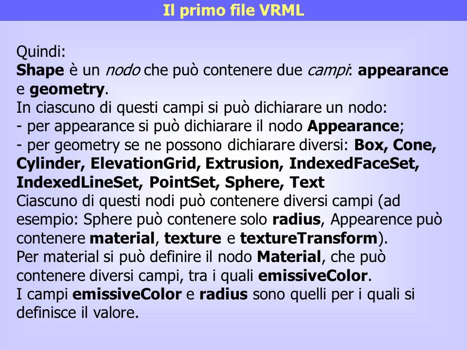 Il primo file VRML Quindi: Shape è un nodo che può contenere due campi: appearance e geometry.