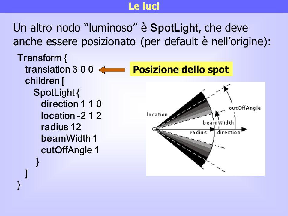 Le luci Un altro nodo luminoso è SpotLight, che deve anche essere posizionato (per default è nell'origine):