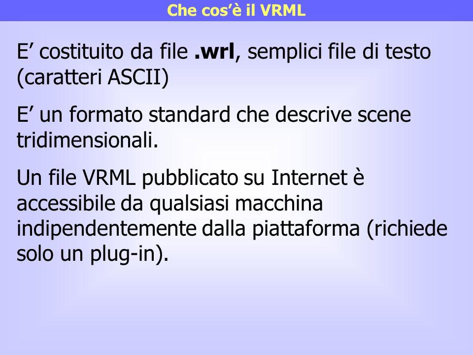 E' costituito da file .wrl, semplici file di testo (caratteri ASCII)