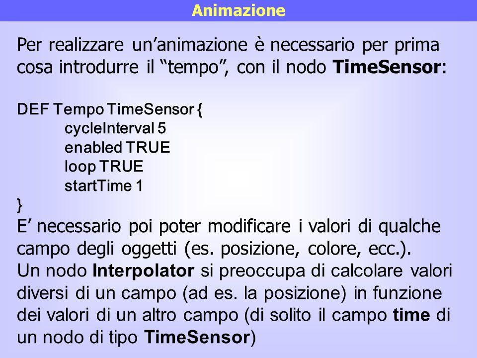 Animazione Per realizzare un'animazione è necessario per prima cosa introdurre il tempo , con il nodo TimeSensor: