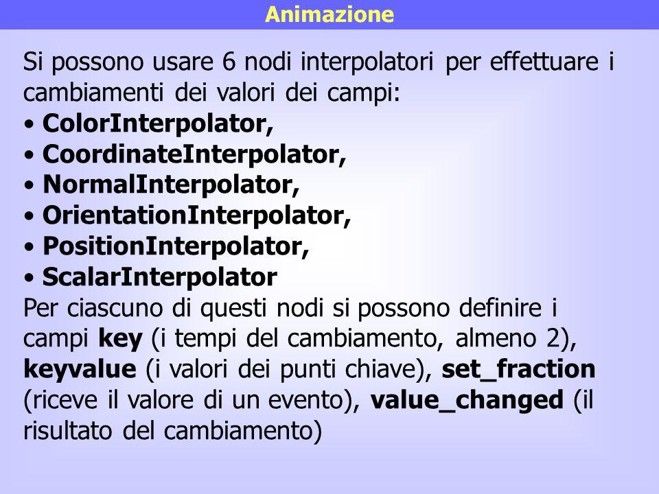 CoordinateInterpolator, NormalInterpolator, OrientationInterpolator,