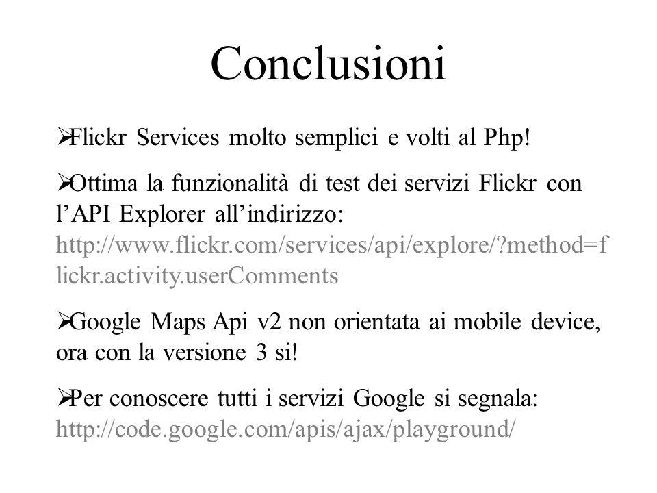 Conclusioni Flickr Services molto semplici e volti al Php!