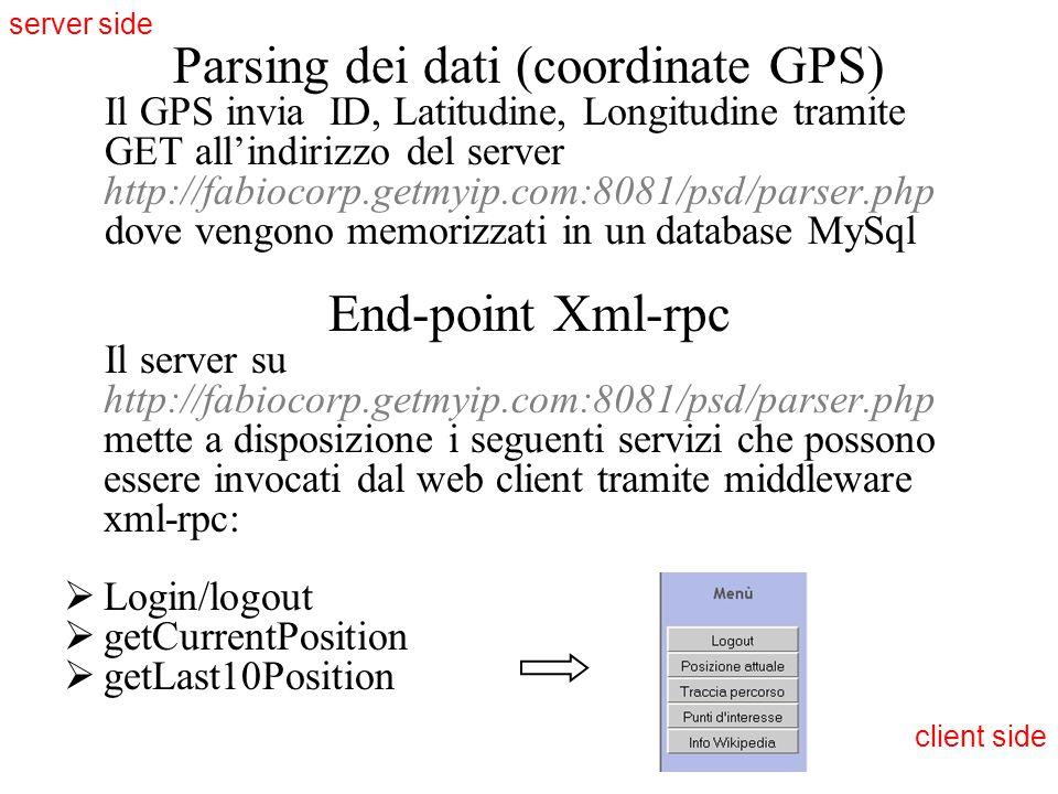 Parsing dei dati (coordinate GPS)