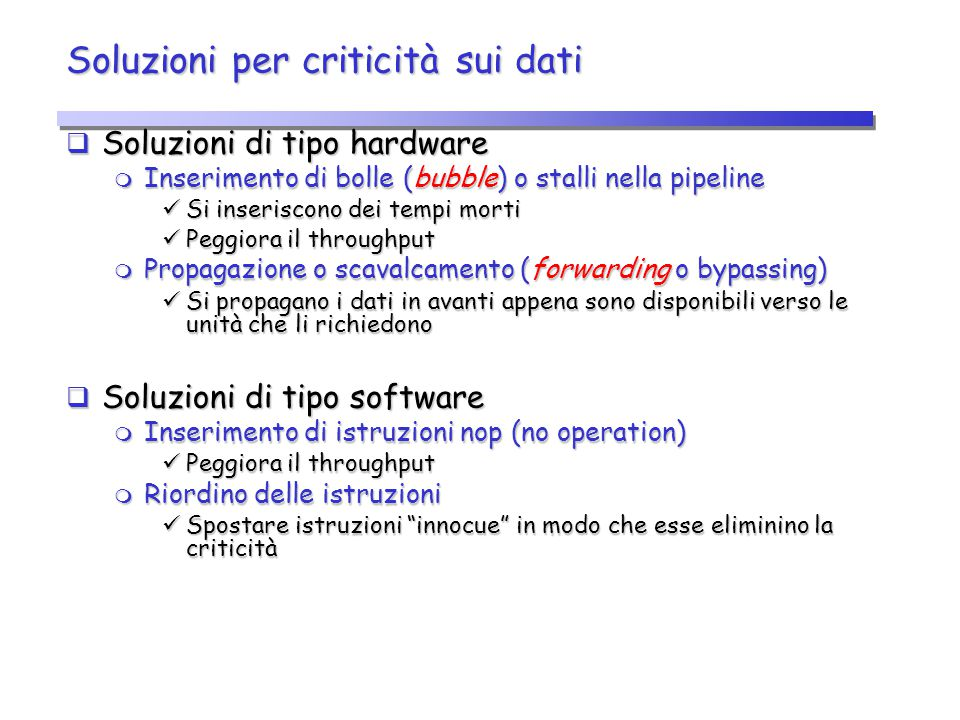 Soluzioni per criticità sui dati