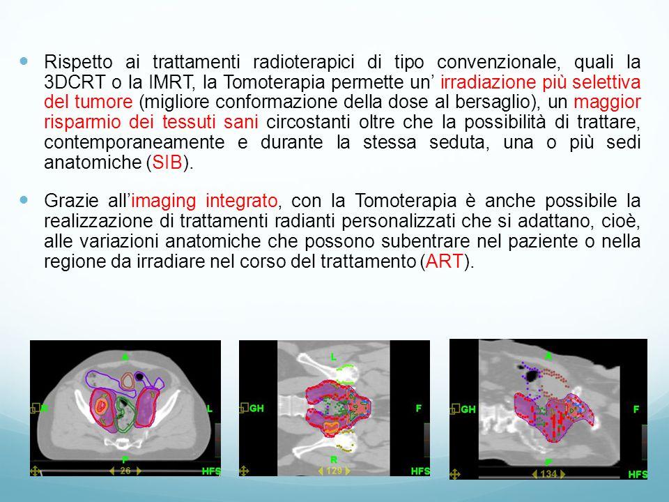 Rispetto ai trattamenti radioterapici di tipo convenzionale, quali la 3DCRT o la IMRT, la Tomoterapia permette un' irradiazione più selettiva del tumore (migliore conformazione della dose al bersaglio), un maggior risparmio dei tessuti sani circostanti oltre che la possibilità di trattare, contemporaneamente e durante la stessa seduta, una o più sedi anatomiche (SIB).