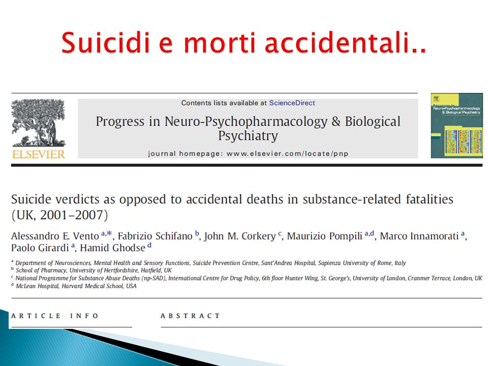 Suicidi e morti accidentali..