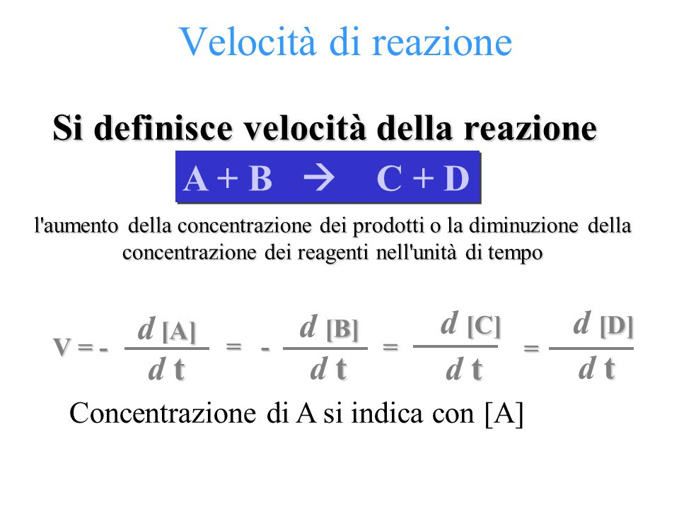 Velocità di reazione Si definisce velocità della reazione