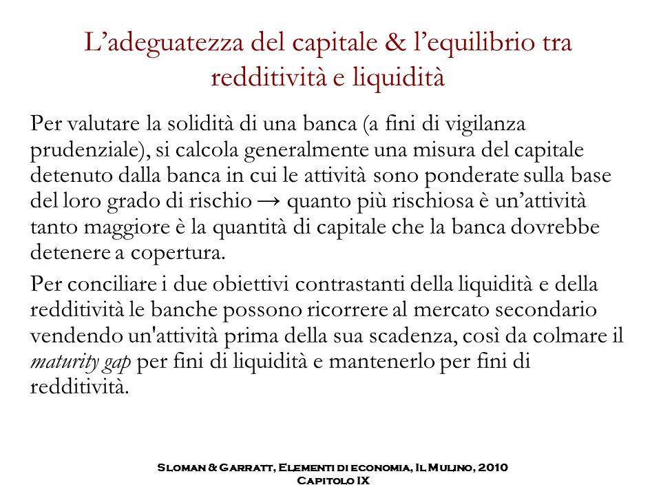 L'adeguatezza del capitale & l'equilibrio tra redditività e liquidità