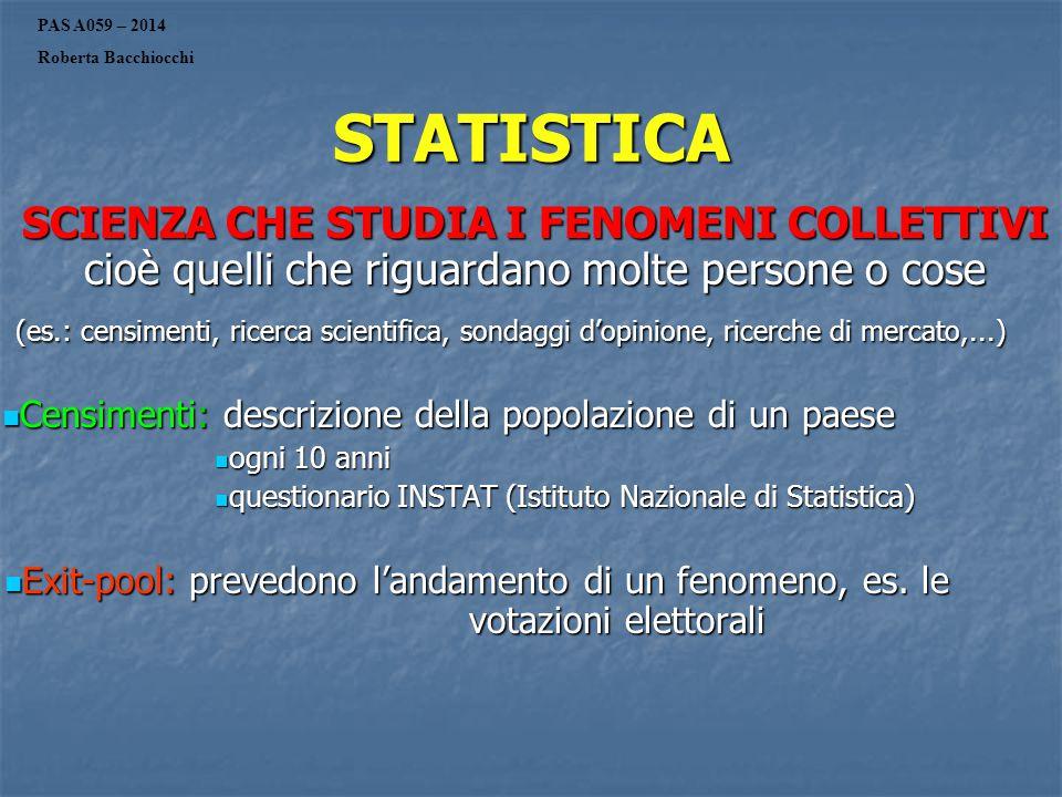 PAS A059 – 2014 Roberta Bacchiocchi. STATISTICA. SCIENZA CHE STUDIA I FENOMENI COLLETTIVI cioè quelli che riguardano molte persone o cose.
