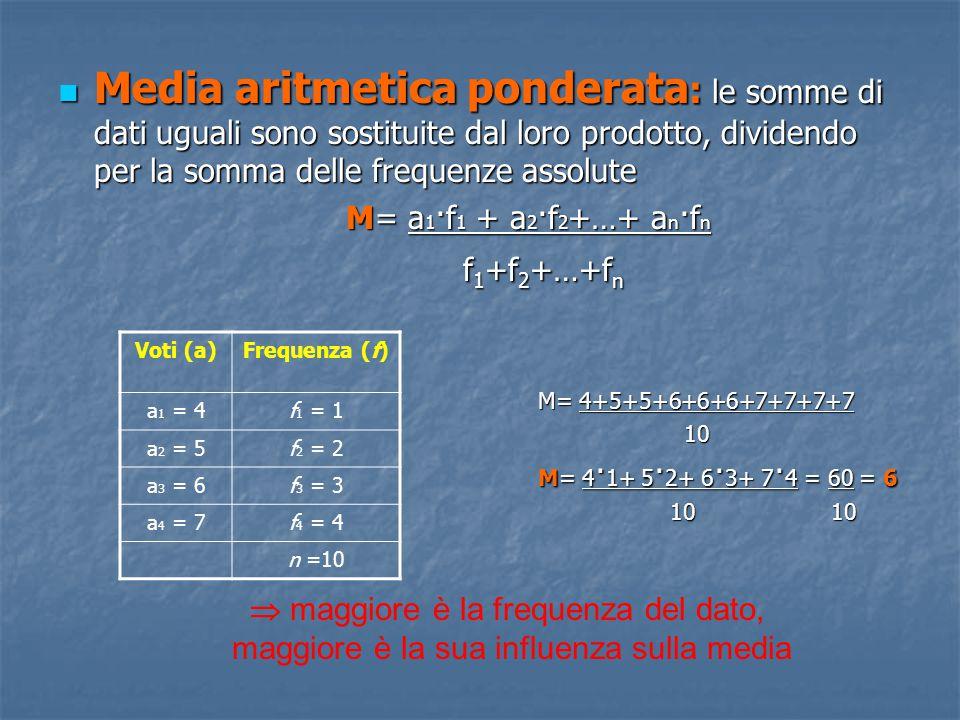 Media aritmetica ponderata: le somme di dati uguali sono sostituite dal loro prodotto, dividendo per la somma delle frequenze assolute