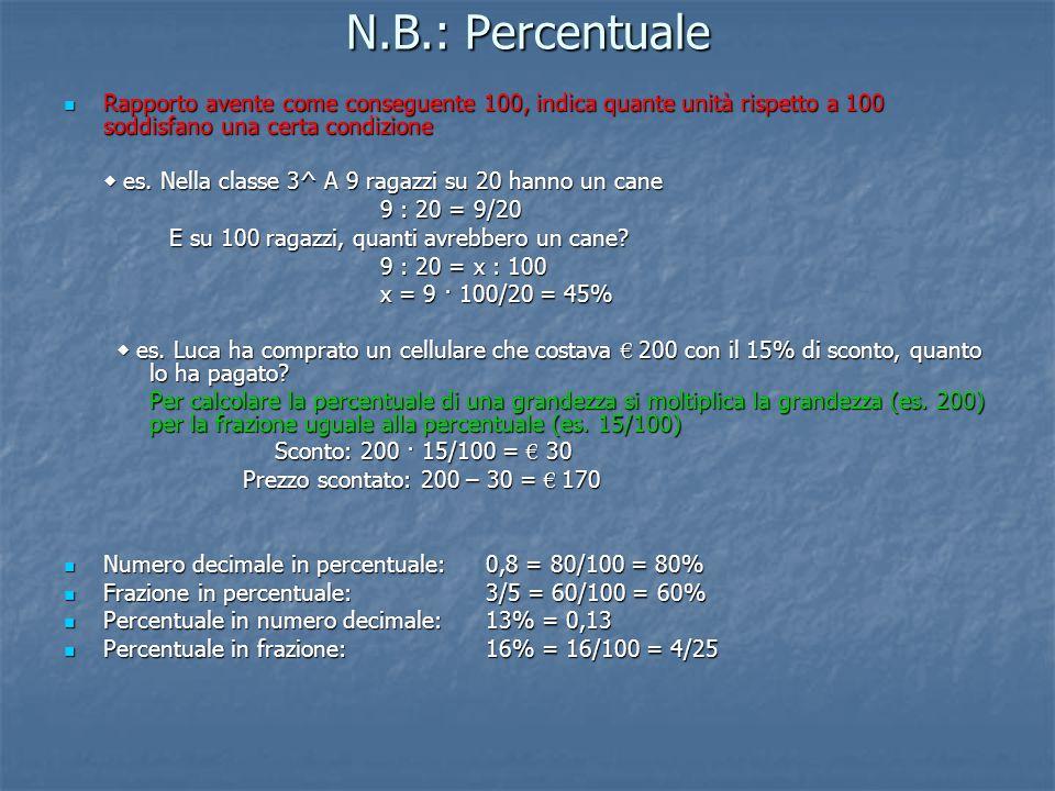 N.B.: Percentuale Rapporto avente come conseguente 100, indica quante unità rispetto a 100 soddisfano una certa condizione.