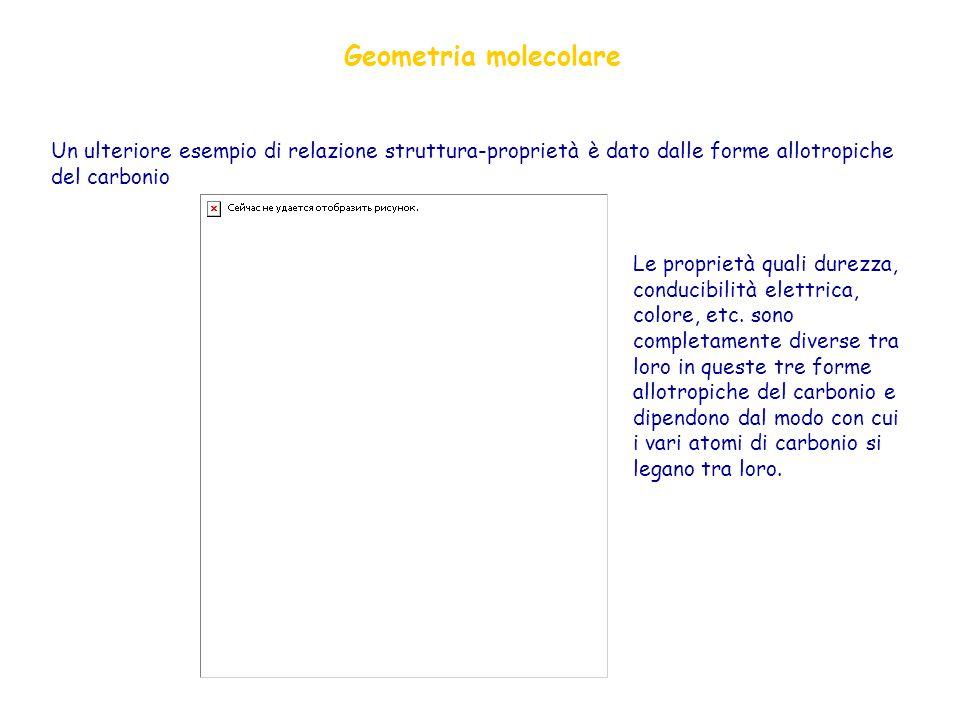 Geometria molecolare Un ulteriore esempio di relazione struttura-proprietà è dato dalle forme allotropiche del carbonio.
