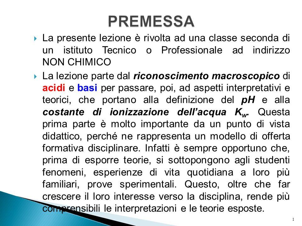 PREMESSA La presente lezione è rivolta ad una classe seconda di un istituto Tecnico o Professionale ad indirizzo NON CHIMICO.