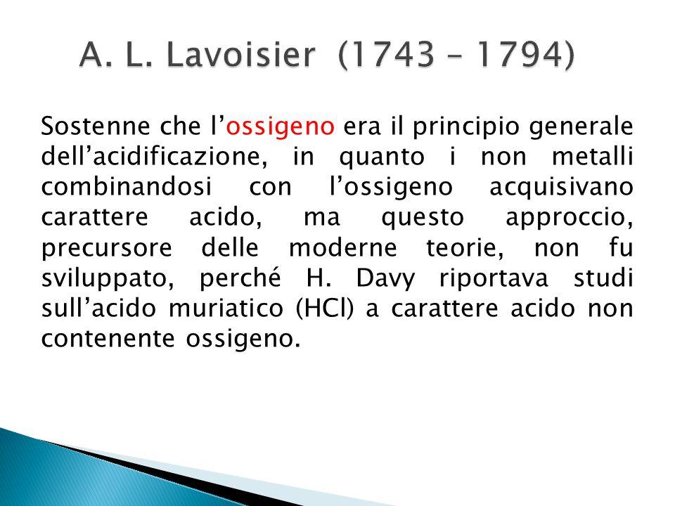 A. L. Lavoisier (1743 – 1794)