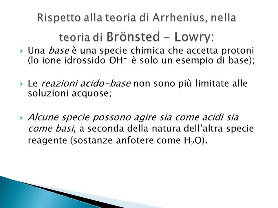 Rispetto alla teoria di Arrhenius, nella teoria di Brönsted - Lowry:
