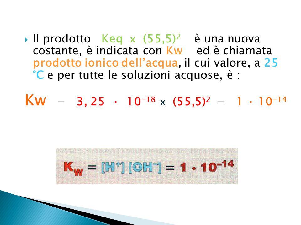 Il prodotto Keq x (55,5)2 è una nuova costante, è indicata con Kw ed è chiamata prodotto ionico dell'acqua, il cui valore, a 25 °C e per tutte le soluzioni acquose, è :