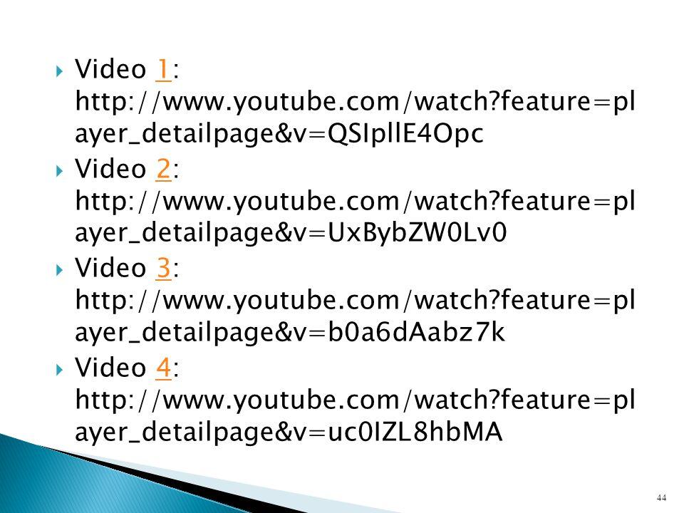 Video 1: http://www. youtube. com/watch