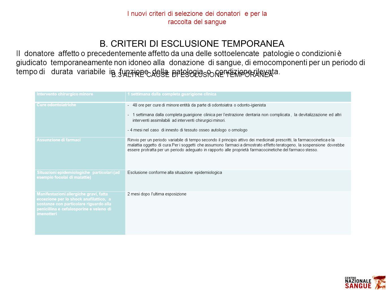 B. CRITERI DI ESCLUSIONE TEMPORANEA