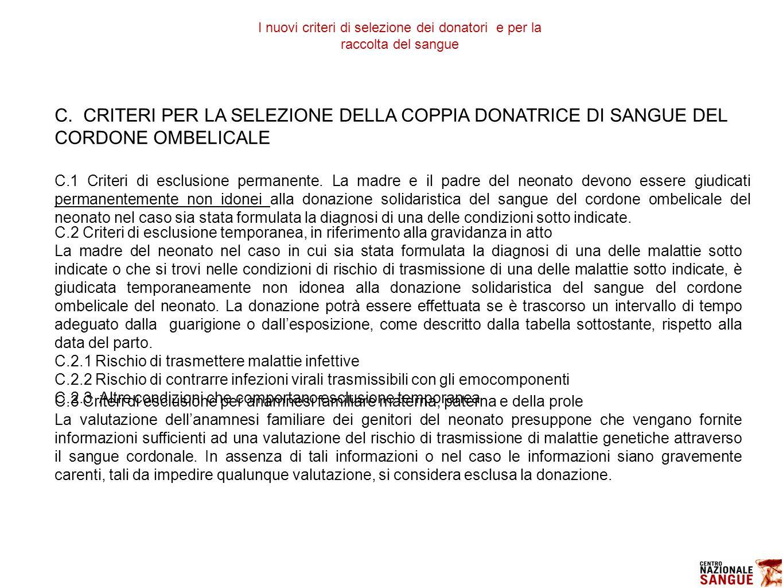I nuovi criteri di selezione dei donatori e per la raccolta del sangue