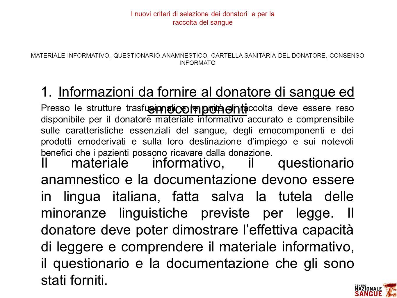 1. Informazioni da fornire al donatore di sangue ed emocomponenti