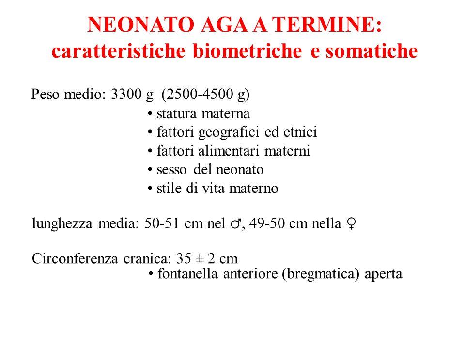 NEONATO AGA A TERMINE: caratteristiche biometriche e somatiche