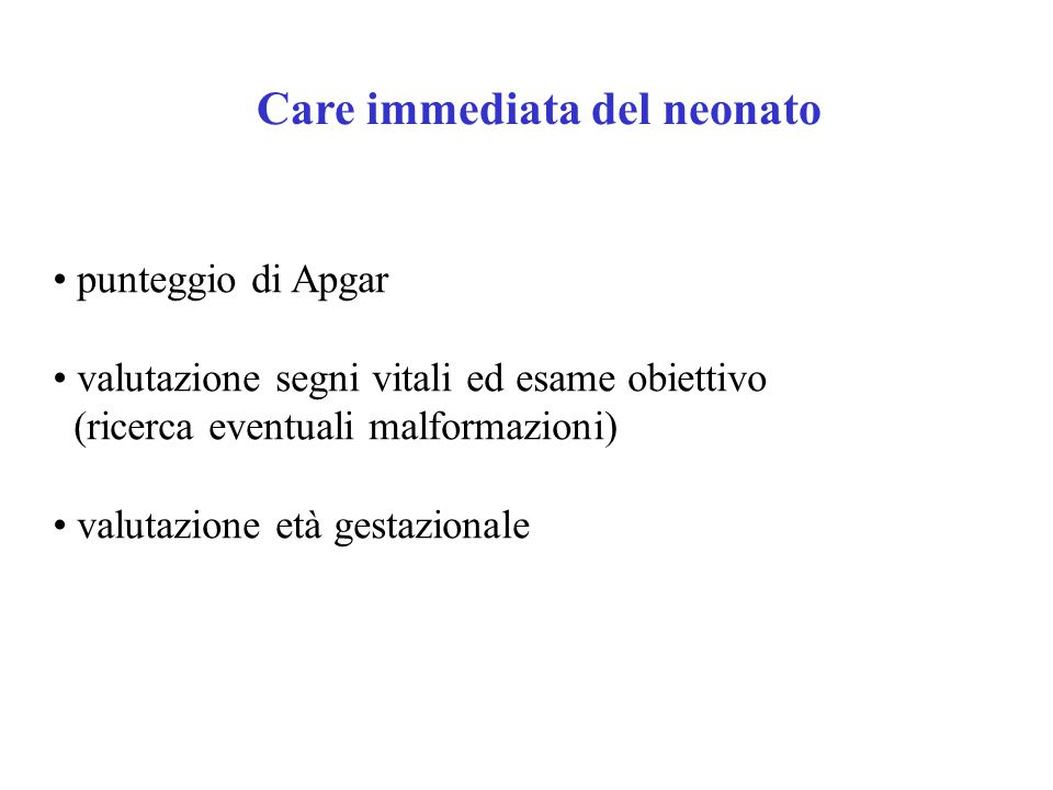Care immediata del neonato