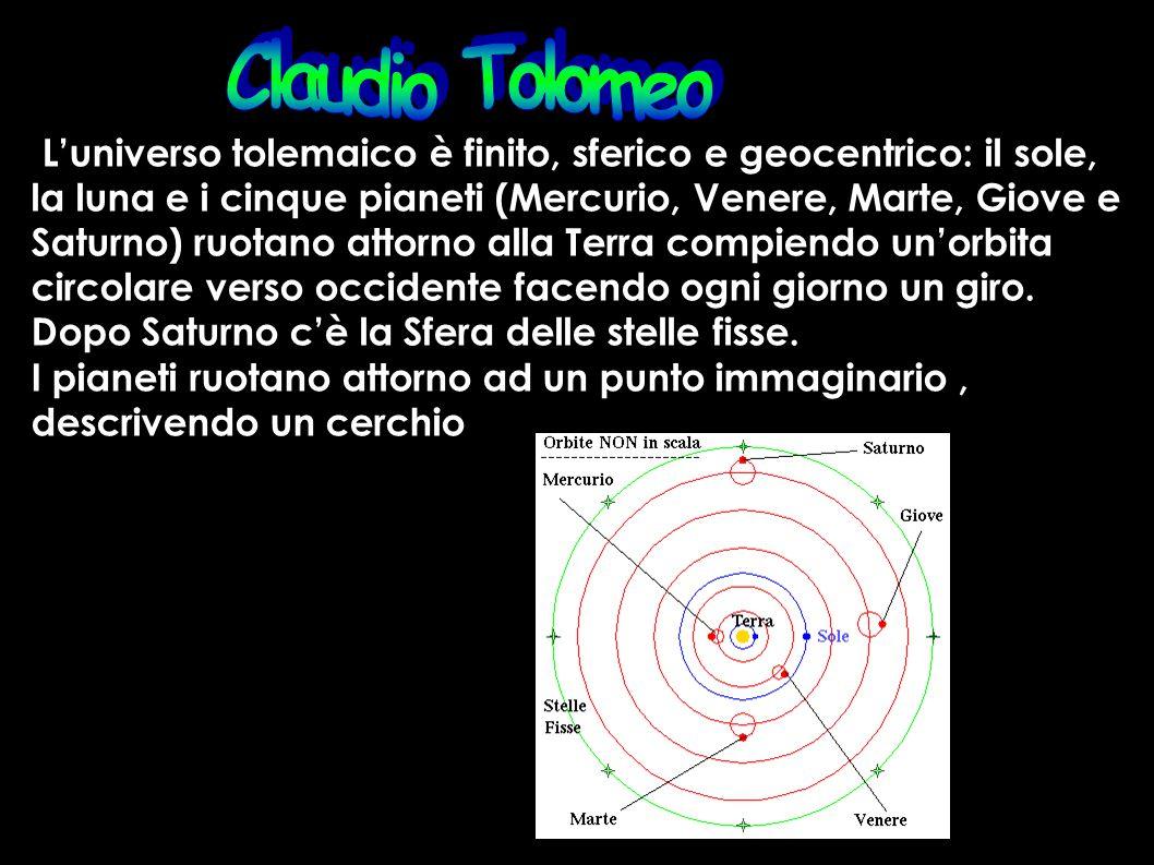 Claudio Tolomeo L'universo tolemaico è finito, sferico e geocentrico: il sole, la luna e i cinque pianeti (Mercurio, Venere, Marte, Giove e.