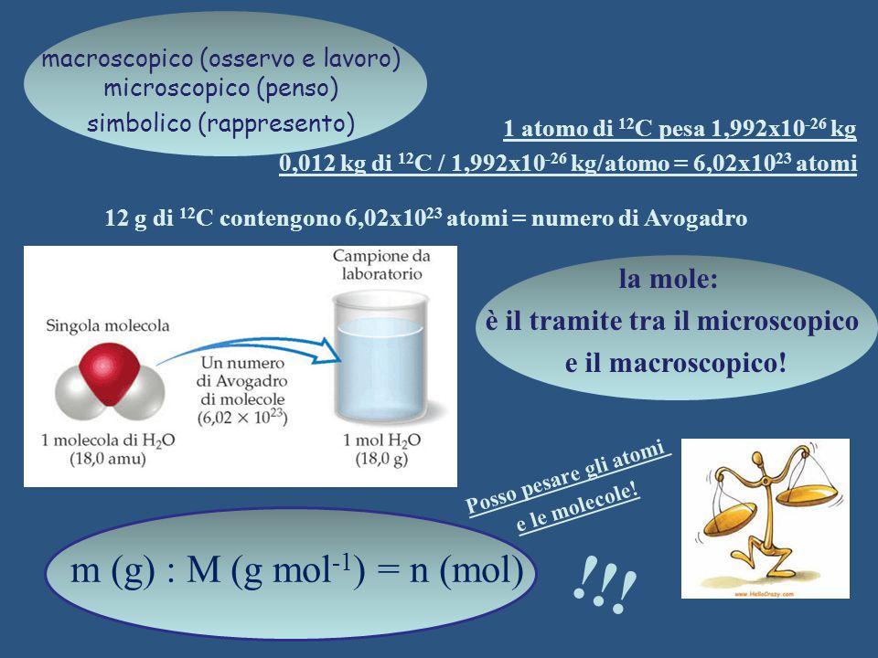 !!! m (g) : M (g mol-1) = n (mol) la mole: