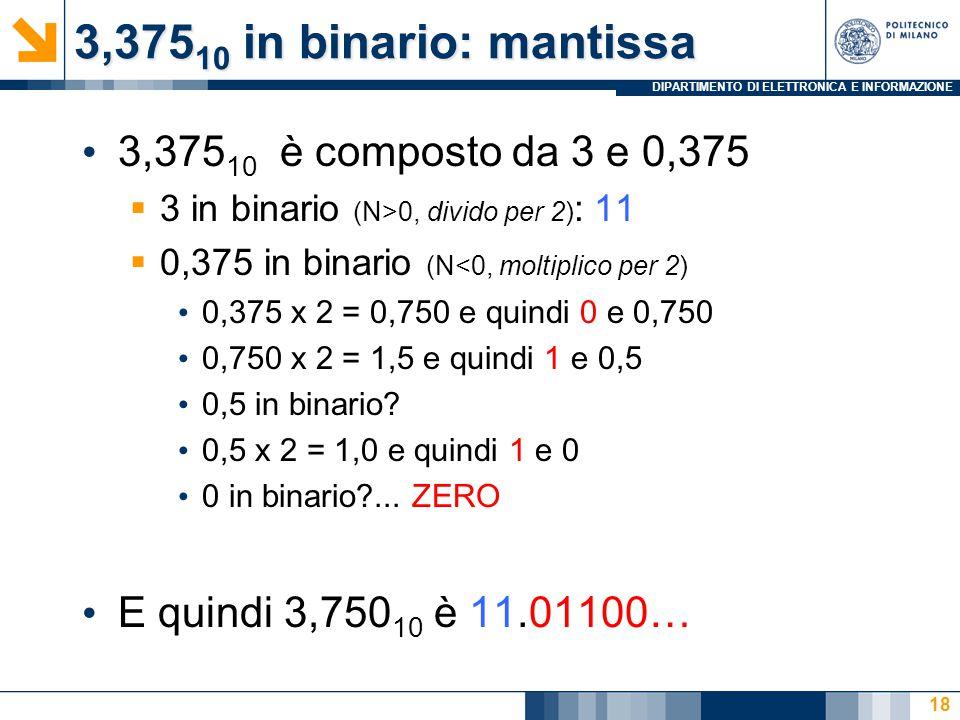 3,37510 in binario: mantissa 3,37510 è composto da 3 e 0,375