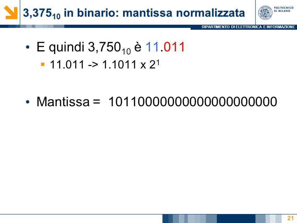 3,37510 in binario: mantissa normalizzata
