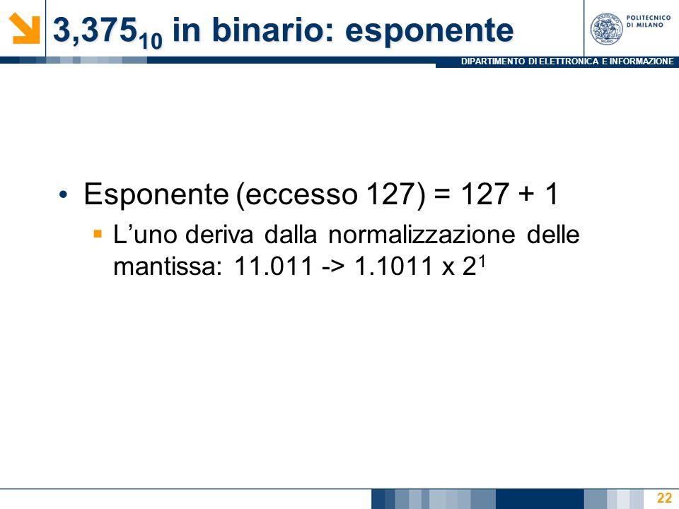 3,37510 in binario: esponente Esponente (eccesso 127) = 127 + 1