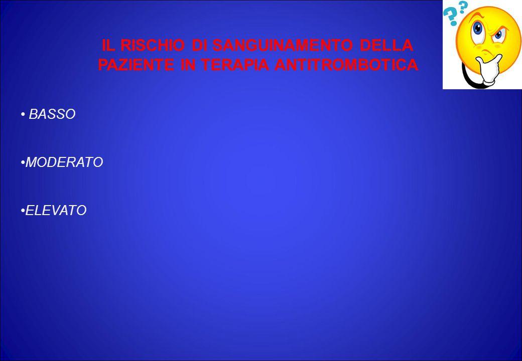 IL RISCHIO DI SANGUINAMENTO DELLA PAZIENTE IN TERAPIA ANTITROMBOTICA