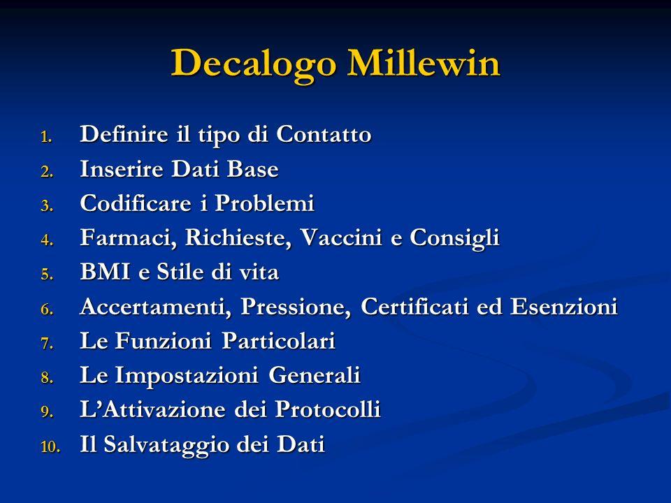 Decalogo Millewin Definire il tipo di Contatto Inserire Dati Base