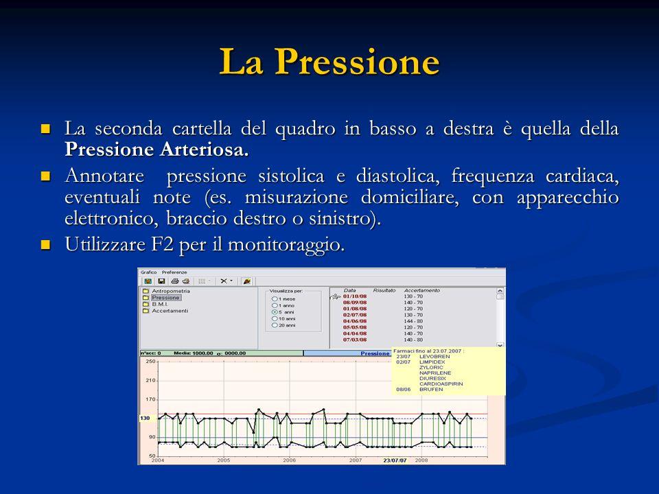 La Pressione La seconda cartella del quadro in basso a destra è quella della Pressione Arteriosa.