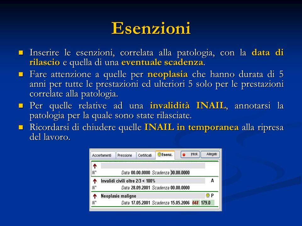 Esenzioni Inserire le esenzioni, correlata alla patologia, con la data di rilascio e quella di una eventuale scadenza.