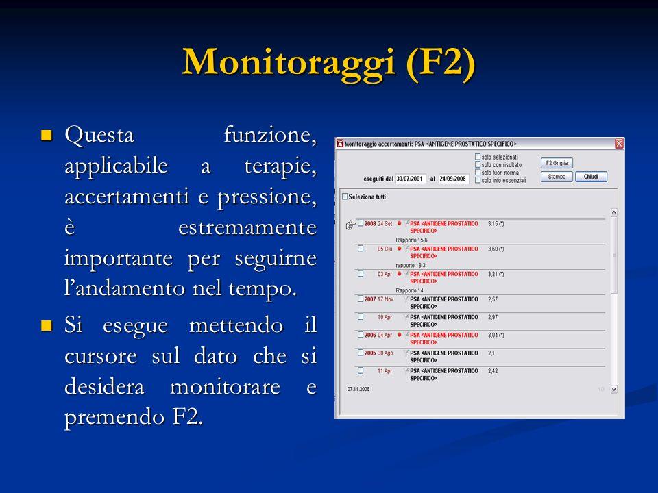 Monitoraggi (F2) Questa funzione, applicabile a terapie, accertamenti e pressione, è estremamente importante per seguirne l'andamento nel tempo.